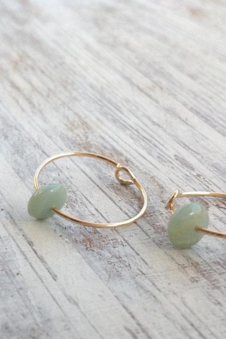 Gold earrings, gold filled hoops earrings, hoop earrings, green mint earrings, thin gold hoop, gold filled hoop earrings -6201