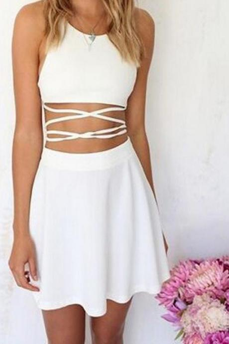 White Two-Piece Strappy Condole A-Line Summer Dress